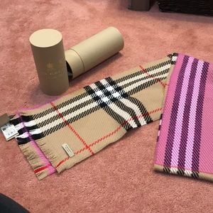 NWT Burberry colour block giant check wool scarf